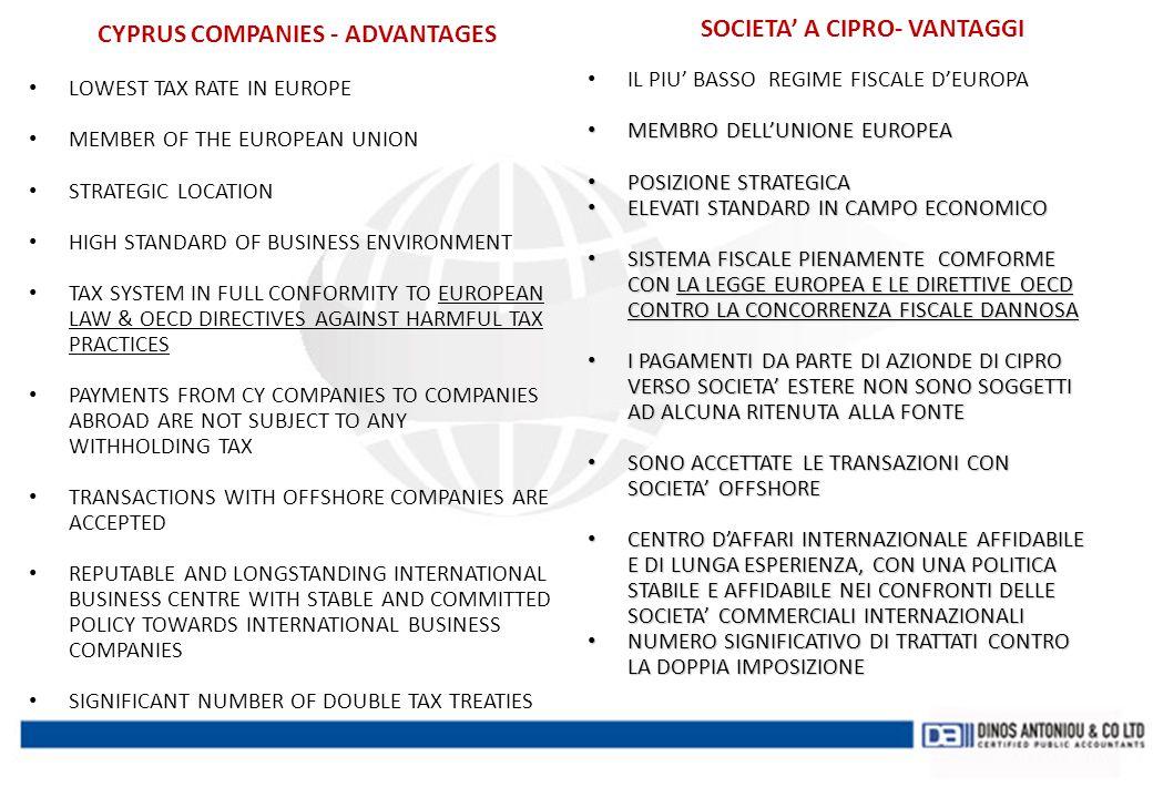 CYPRUS COMPANIES - ADVANTAGES SOCIETA' A CIPRO- VANTAGGI