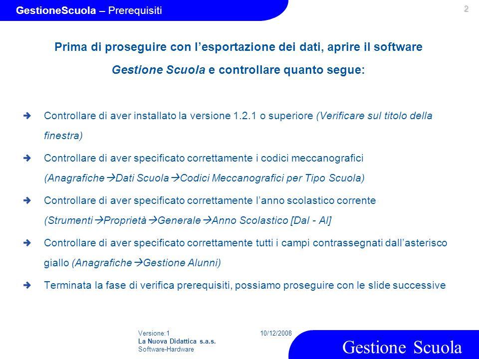 GestioneScuola – Prerequisiti