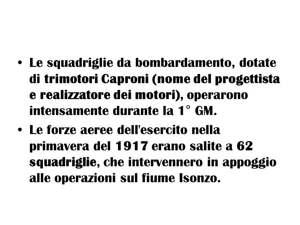 Le squadriglie da bombardamento, dotate di trimotori Caproni (nome del progettista e realizzatore dei motori), operarono intensamente durante la 1° GM.
