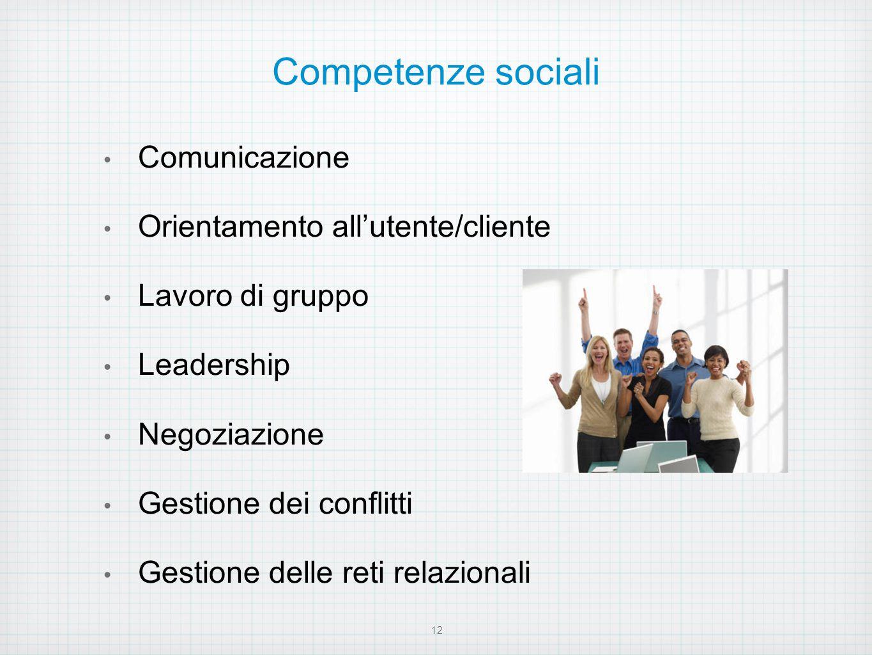 Competenze sociali Comunicazione Orientamento all'utente/cliente
