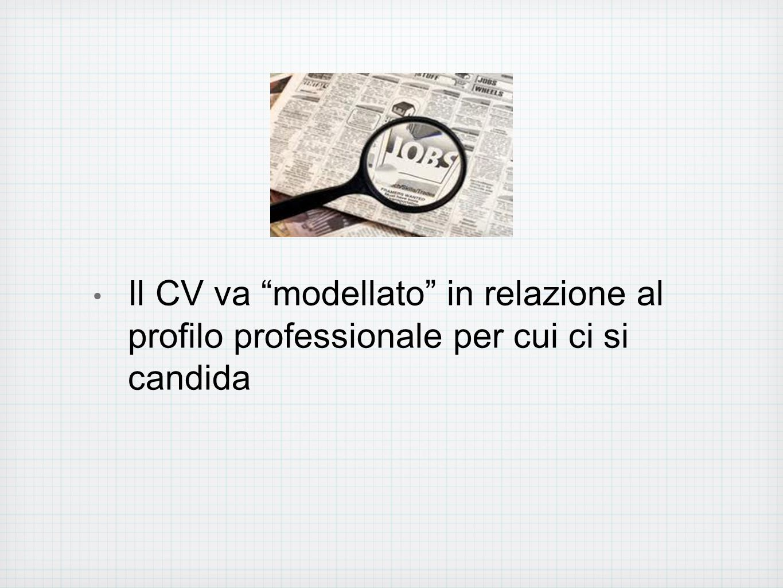 Il CV va modellato in relazione al profilo professionale per cui ci si candida