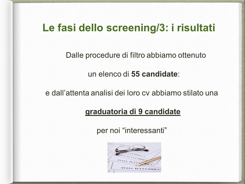 Le fasi dello screening/3: i risultati