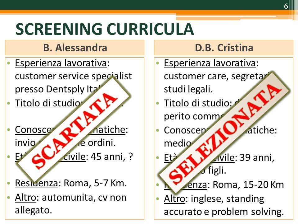 SCREENING CURRICULA SELEZIONATA SCARTATA B. Alessandra D.B. Cristina