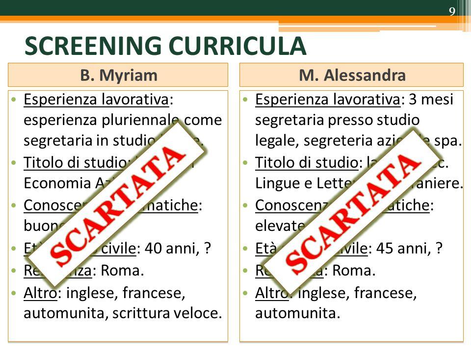 SCREENING CURRICULA SCARTATA SCARTATA B. Myriam M. Alessandra