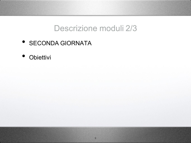 Descrizione moduli 2/3 SECONDA GIORNATA Obiettivi