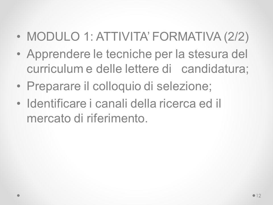 MODULO 1: ATTIVITA' FORMATIVA (2/2)