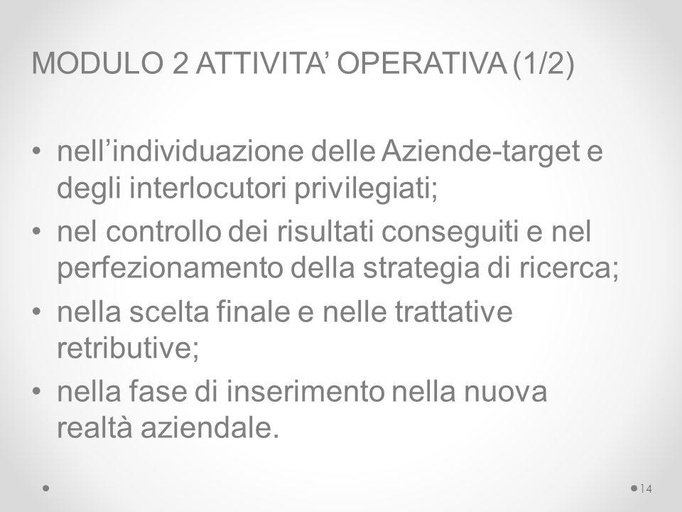 MODULO 2 ATTIVITA' OPERATIVA (1/2)