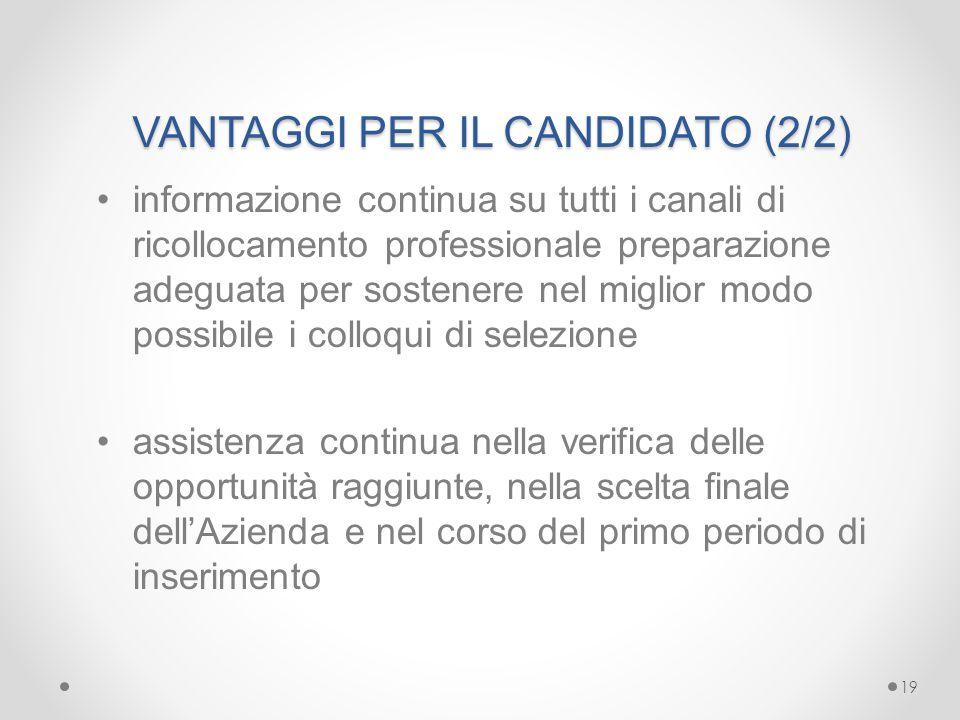 VANTAGGI PER IL CANDIDATO (2/2)