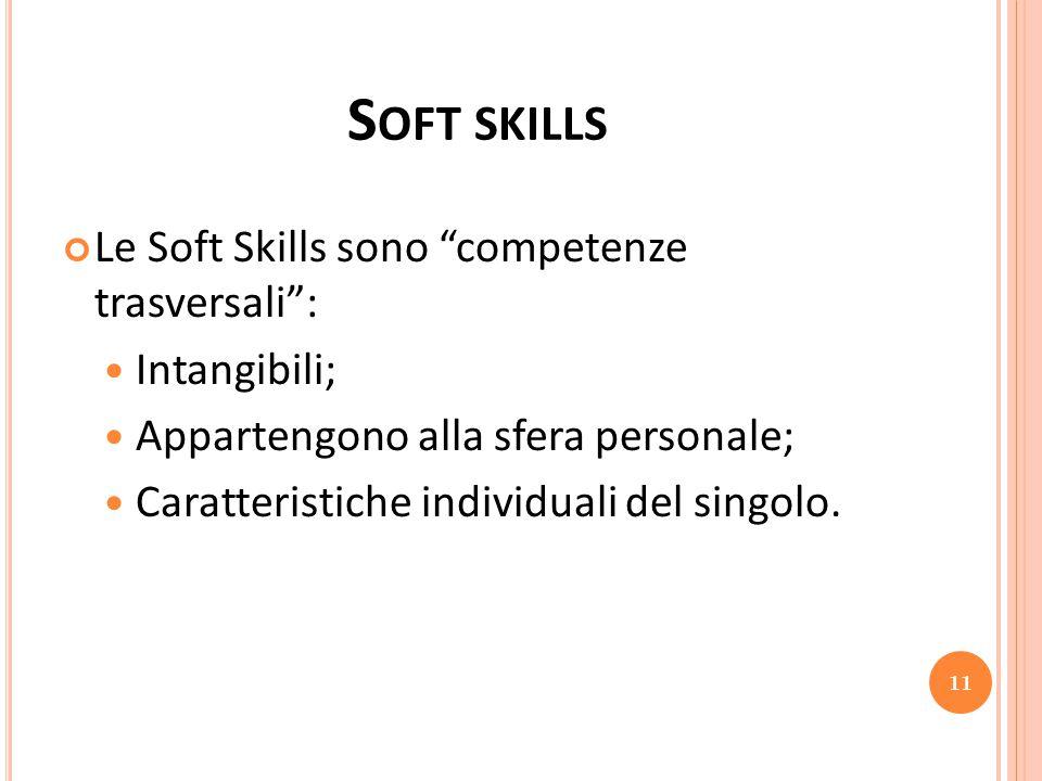Soft skills Le Soft Skills sono competenze trasversali : Intangibili;
