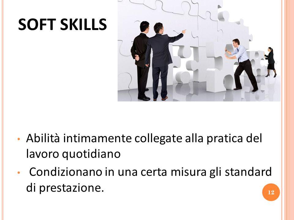 SOFT SKILLS Abilità intimamente collegate alla pratica del lavoro quotidiano.