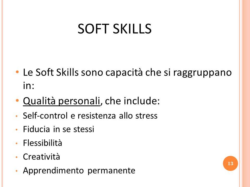 SOFT SKILLS Le Soft Skills sono capacità che si raggruppano in: