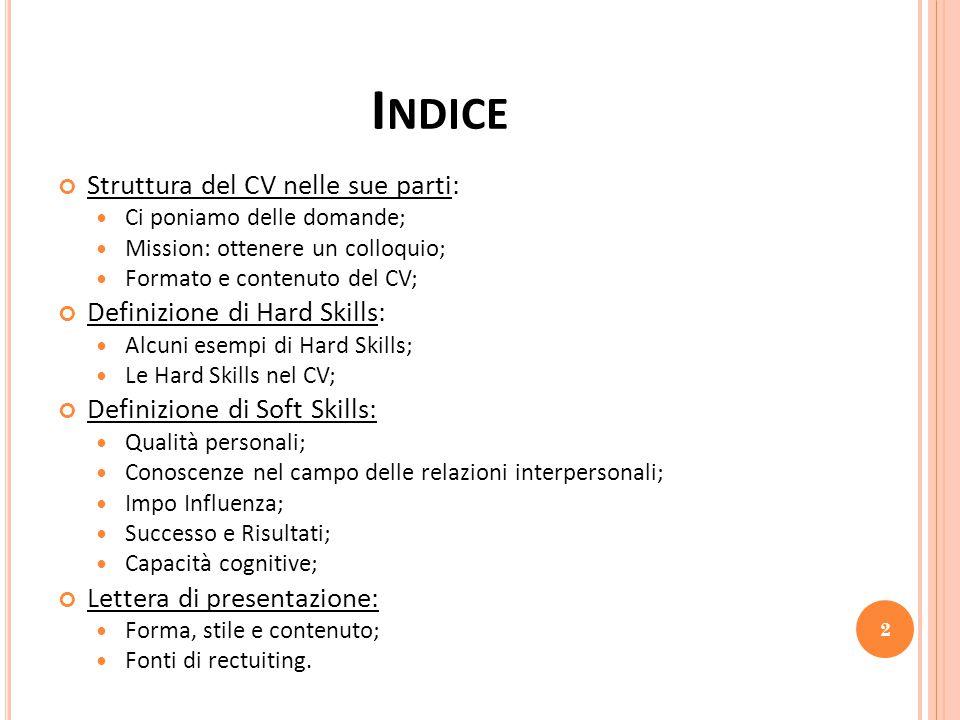 Indice Struttura del CV nelle sue parti: Definizione di Hard Skills: