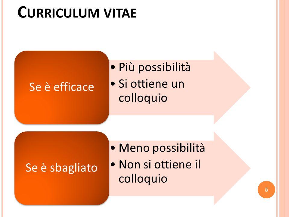Curriculum vitae Più possibilità Si ottiene un colloquio Se è efficace