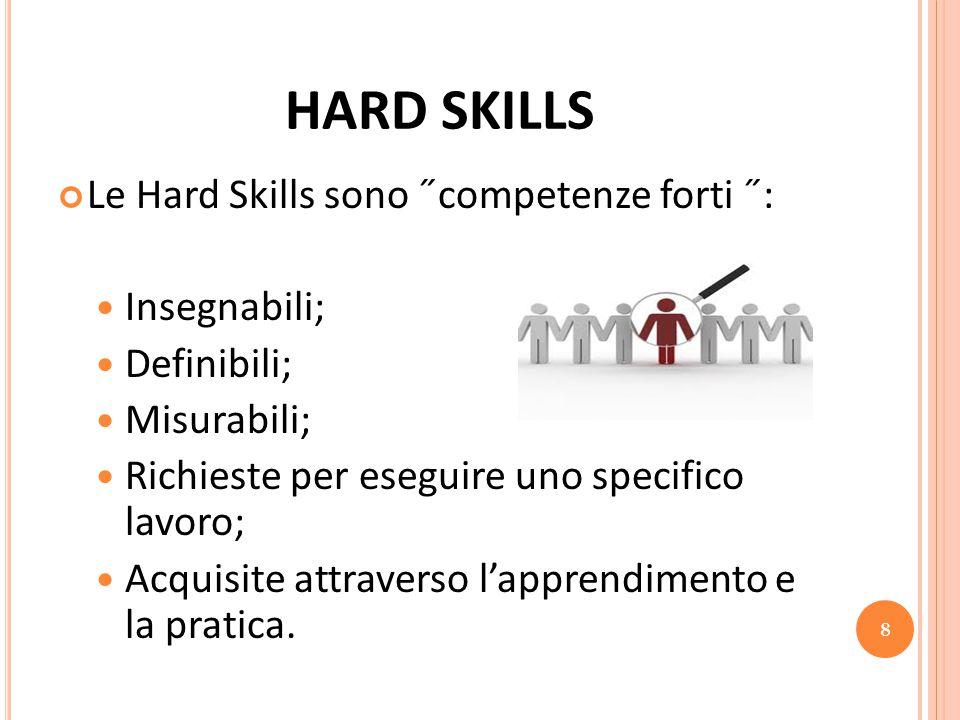 HARD SKILLS Le Hard Skills sono ˝competenze forti ˝: Insegnabili;