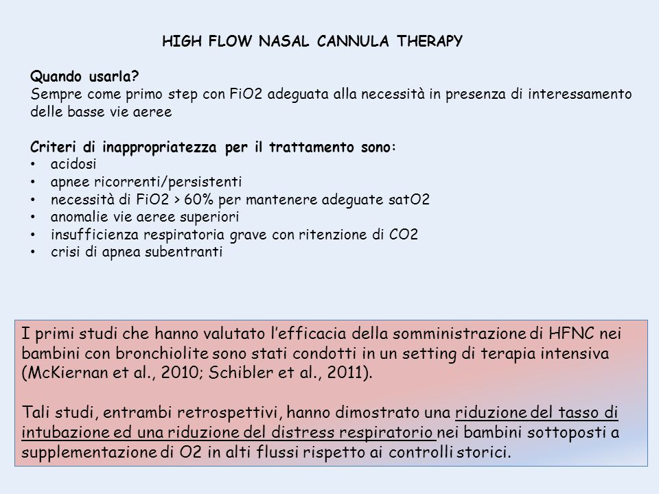 HIGH FLOW NASAL CANNULA THERAPY