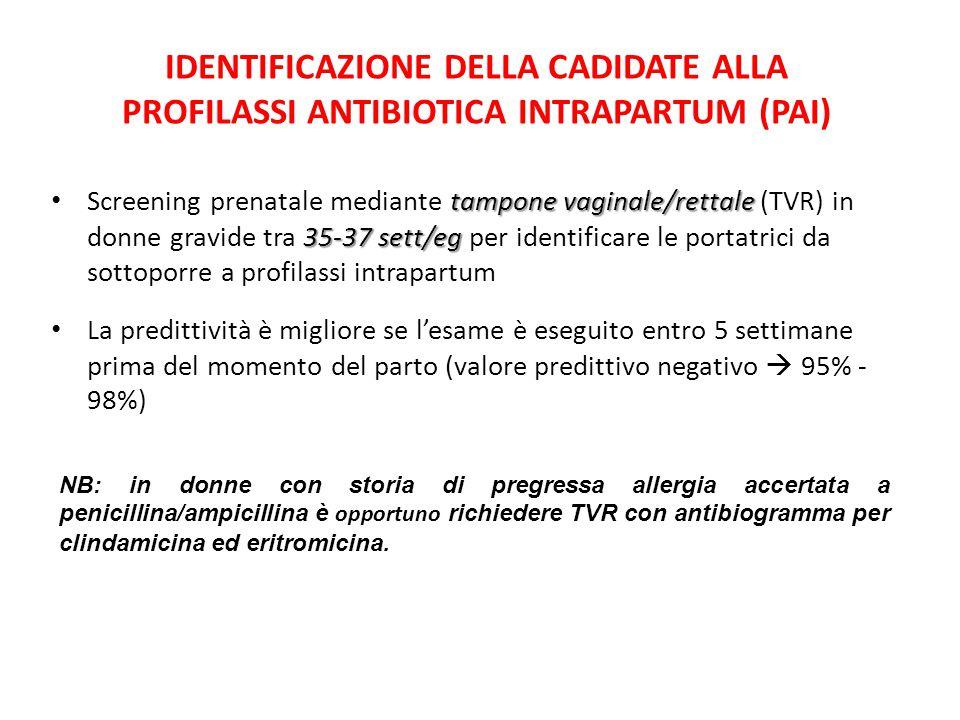 IDENTIFICAZIONE DELLA CADIDATE ALLA PROFILASSI ANTIBIOTICA INTRAPARTUM (PAI)