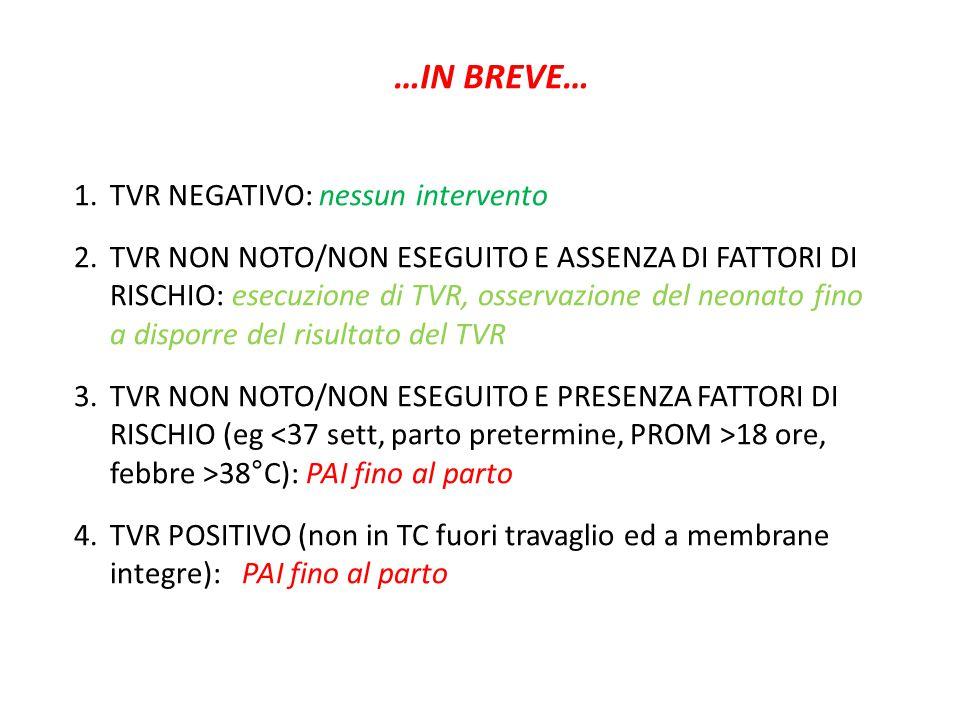 …IN BREVE… TVR NEGATIVO: nessun intervento