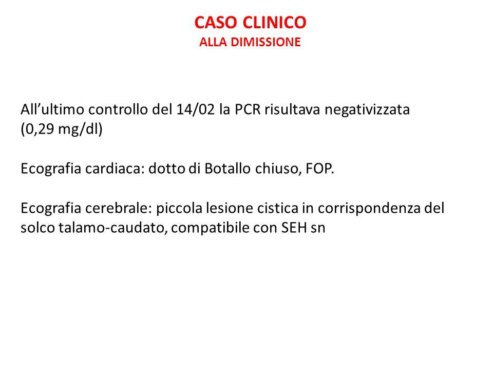 CASO CLINICO ALLA DIMISSIONE. All'ultimo controllo del 14/02 la PCR risultava negativizzata. (0,29 mg/dl)