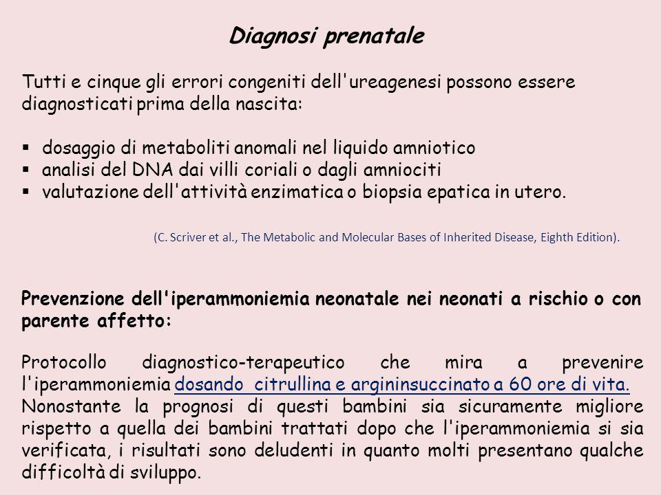 Diagnosi prenatale Tutti e cinque gli errori congeniti dell ureagenesi possono essere diagnosticati prima della nascita: