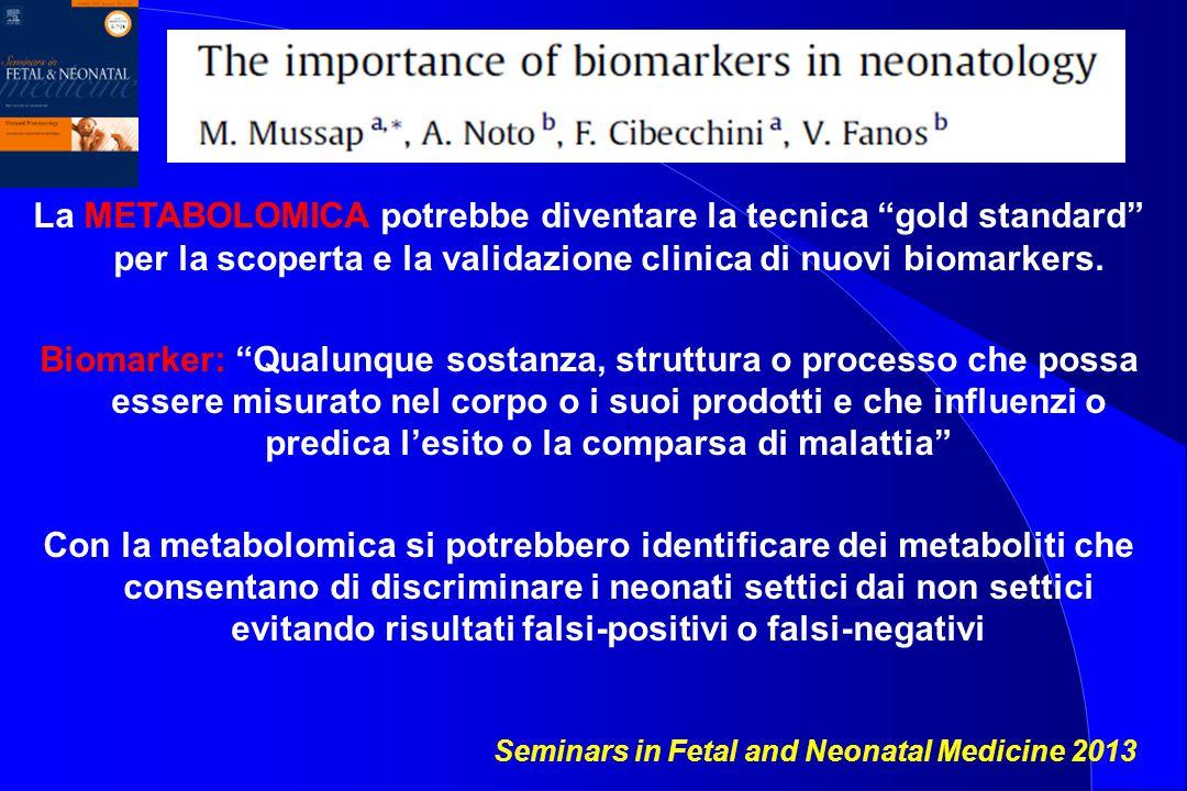 La METABOLOMICA potrebbe diventare la tecnica gold standard per la scoperta e la validazione clinica di nuovi biomarkers.