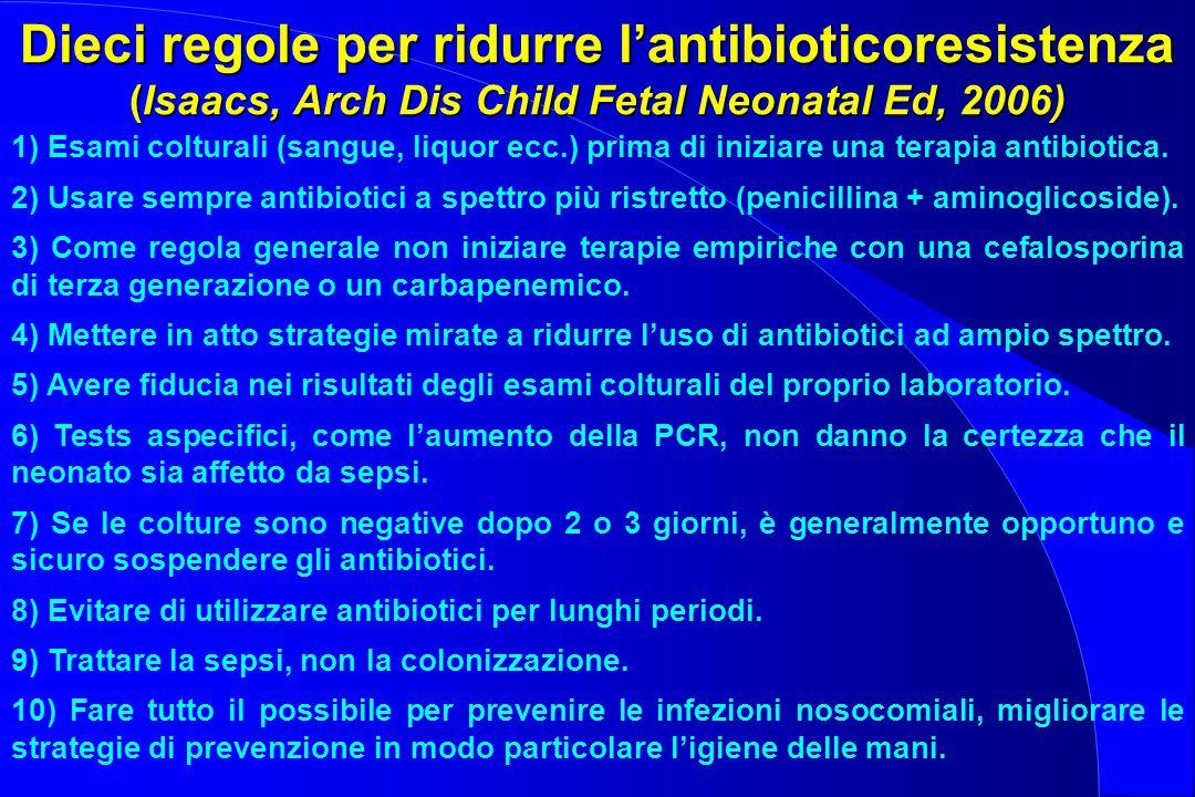 Dieci regole per ridurre l'antibioticoresistenza (Isaacs, Arch Dis Child Fetal Neonatal Ed, 2006)