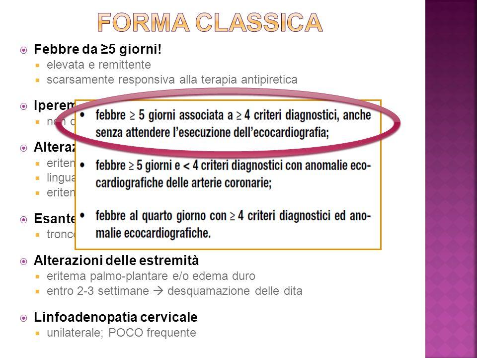 FORMA CLASSICA Febbre da ≥5 giorni! Iperemia congiuntivale bilaterale