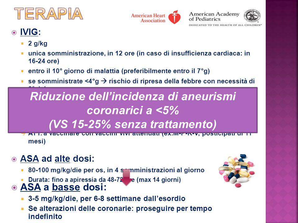 terapia Riduzione dell'incidenza di aneurismi coronarici a <5%