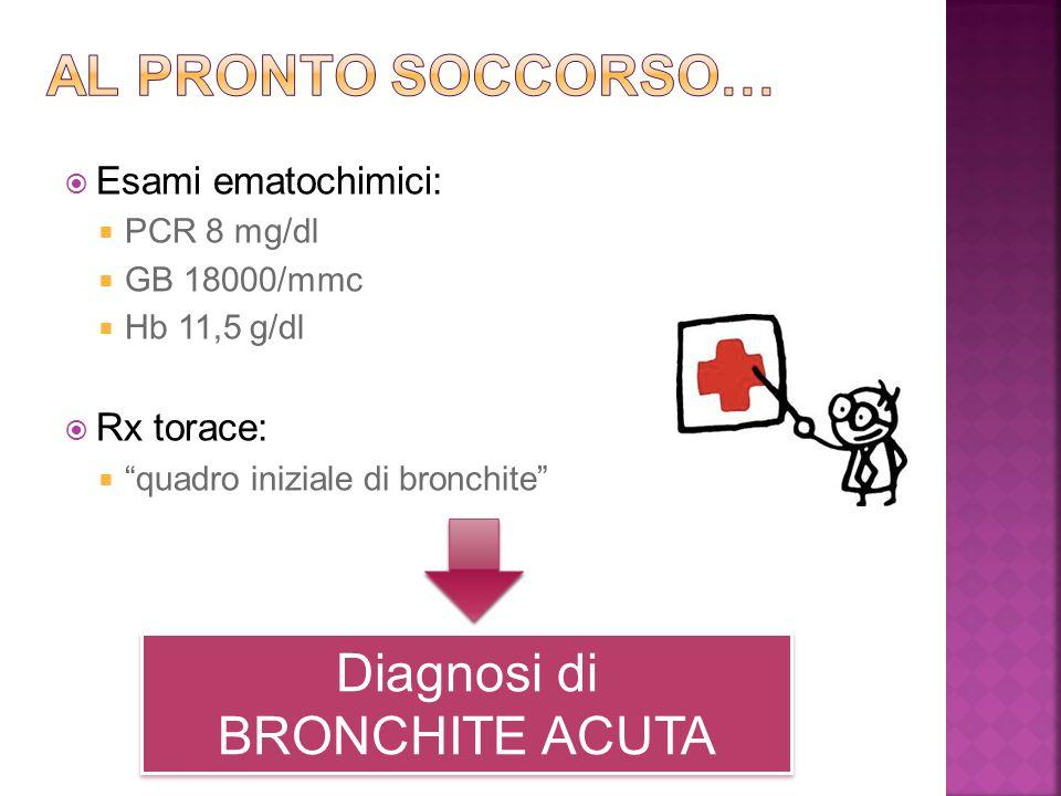 Al pronto soccorso… Diagnosi di BRONCHITE ACUTA Esami ematochimici:
