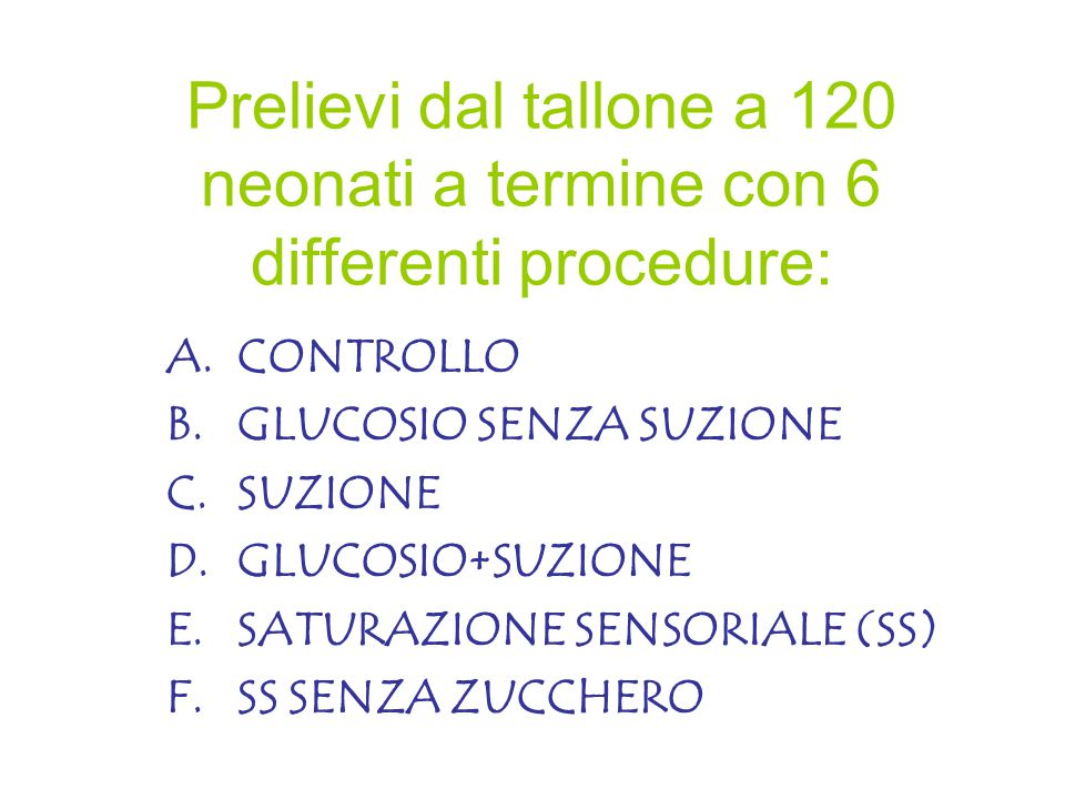 Prelievi dal tallone a 120 neonati a termine con 6 differenti procedure: