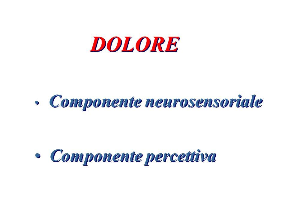 DOLORE Componente neurosensoriale Componente percettiva