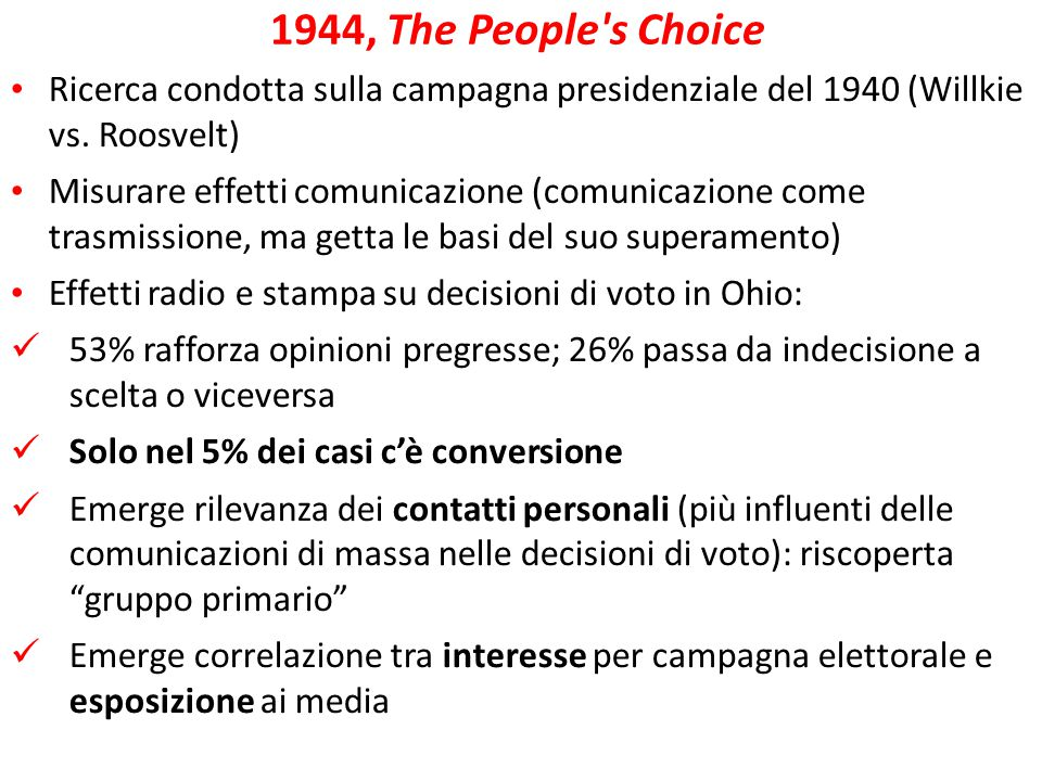 1944, The People s Choice Ricerca condotta sulla campagna presidenziale del 1940 (Willkie vs. Roosvelt)‏