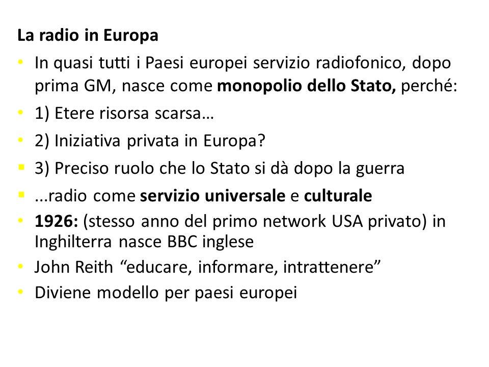 La radio in Europa In quasi tutti i Paesi europei servizio radiofonico, dopo prima GM, nasce come monopolio dello Stato, perché: