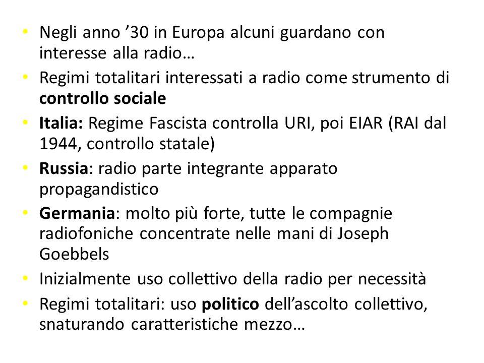 Negli anno '30 in Europa alcuni guardano con interesse alla radio…