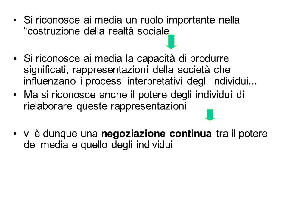 Si riconosce ai media un ruolo importante nella costruzione della realtà sociale