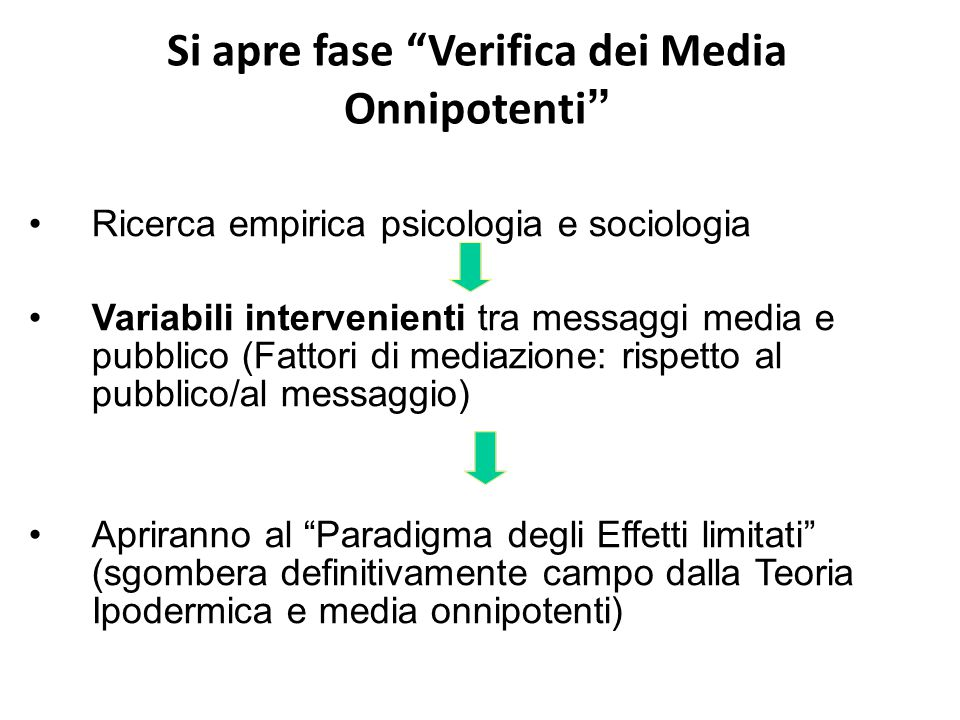 Si apre fase Verifica dei Media Onnipotenti