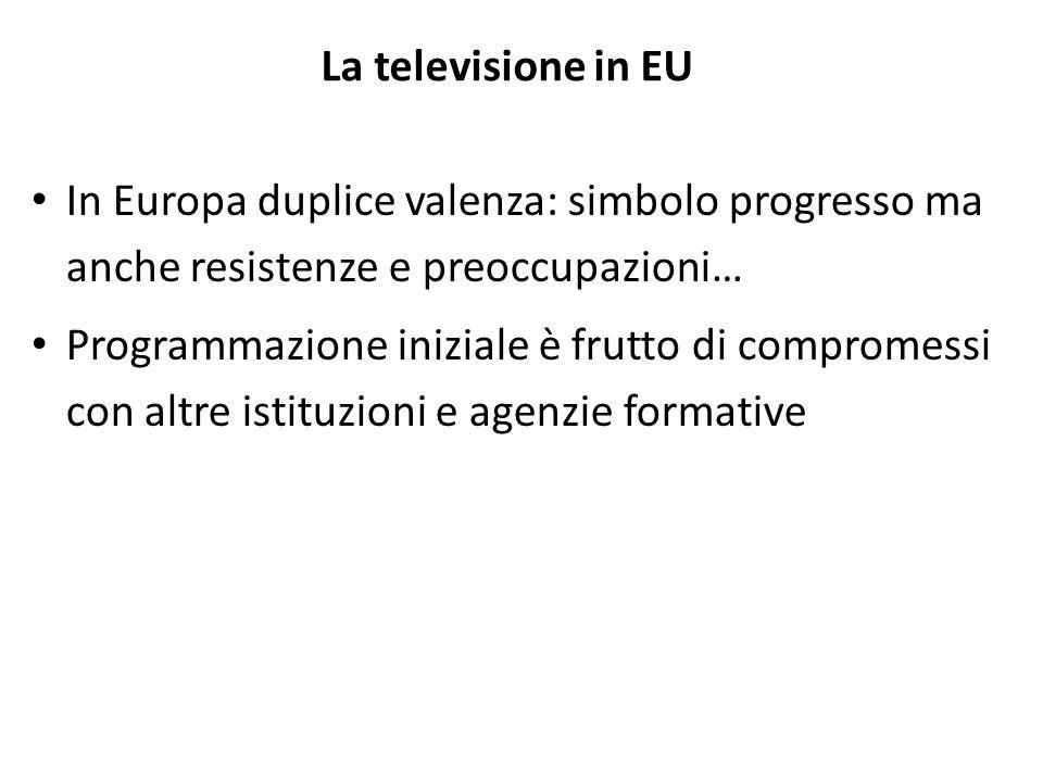 La televisione in EU In Europa duplice valenza: simbolo progresso ma anche resistenze e preoccupazioni…