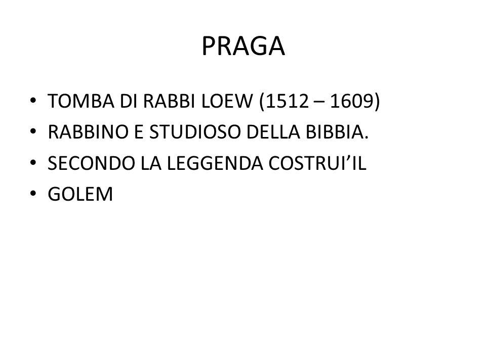 PRAGA TOMBA DI RABBI LOEW (1512 – 1609)