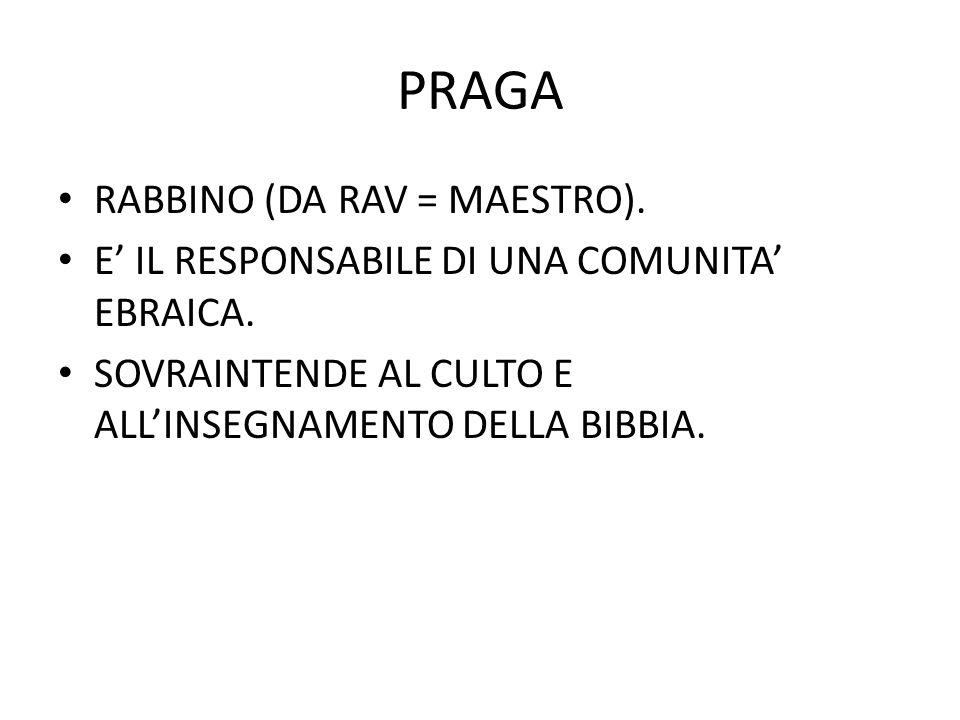 PRAGA RABBINO (DA RAV = MAESTRO).