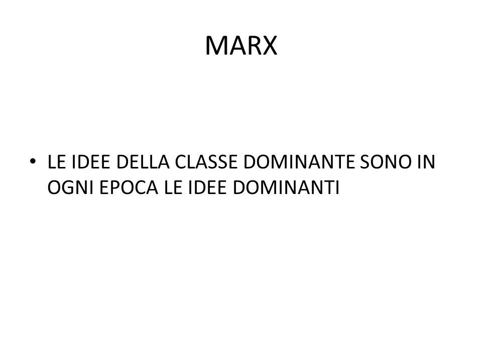MARX LE IDEE DELLA CLASSE DOMINANTE SONO IN OGNI EPOCA LE IDEE DOMINANTI.
