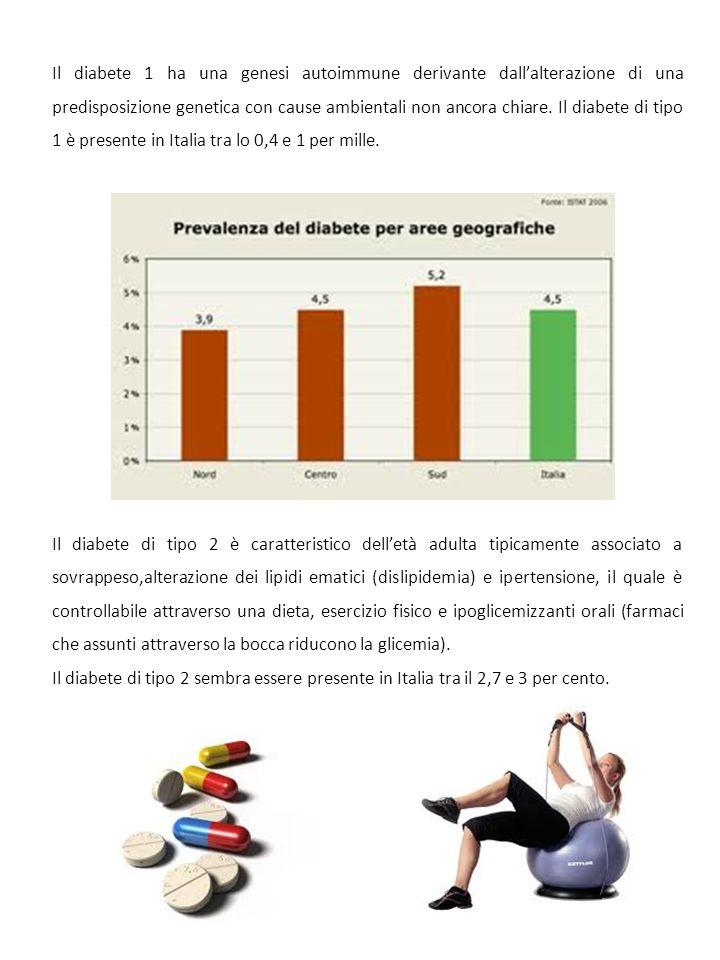 Il diabete 1 ha una genesi autoimmune derivante dall'alterazione di una predisposizione genetica con cause ambientali non ancora chiare. Il diabete di tipo 1 è presente in Italia tra lo 0,4 e 1 per mille.