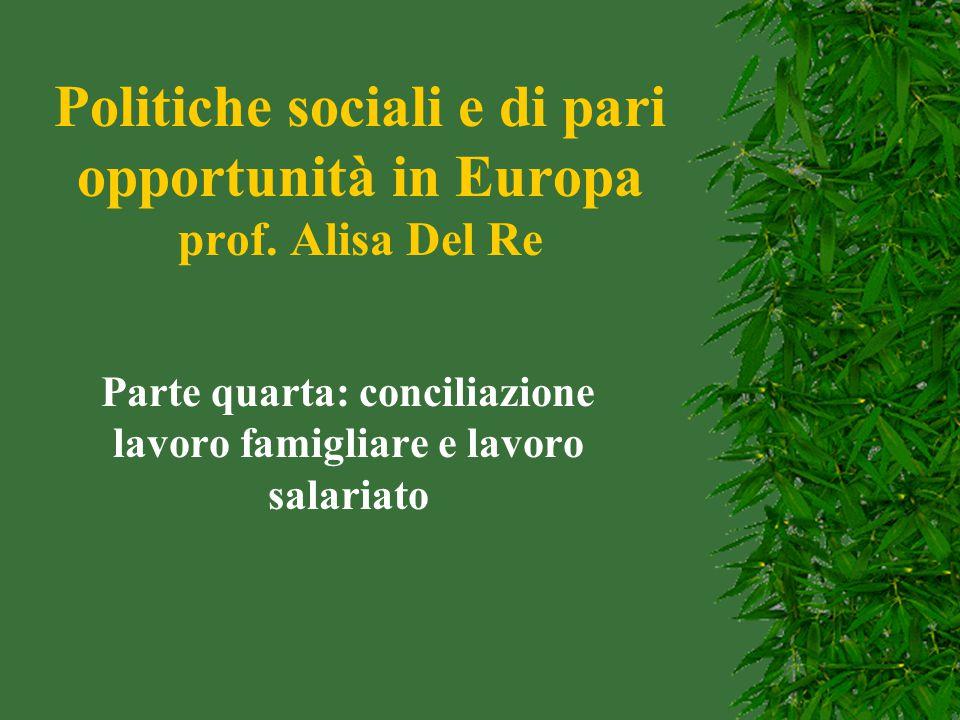 Politiche sociali e di pari opportunità in Europa prof. Alisa Del Re