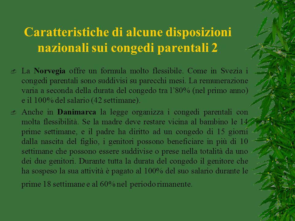Caratteristiche di alcune disposizioni nazionali sui congedi parentali 2