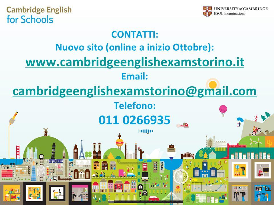 CONTATTI: Nuovo sito (online a inizio Ottobre): www