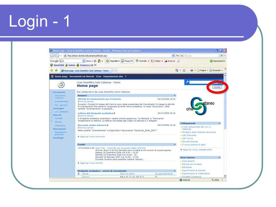 Login - 1 Per poter operare sul sito bisogna farsi riconoscere dal sistema.