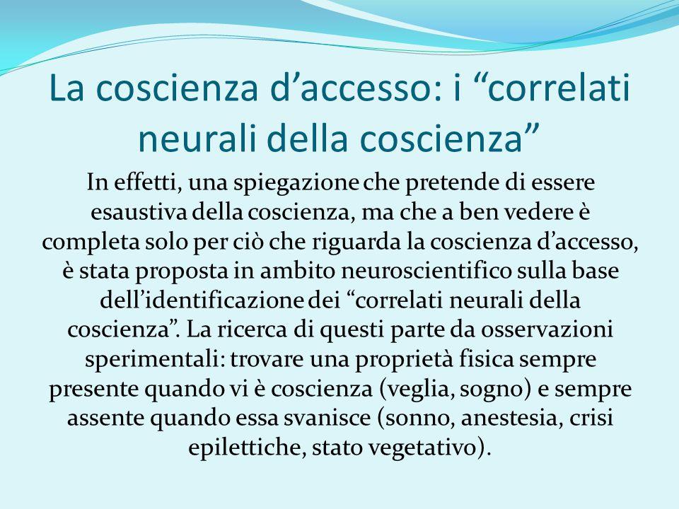 La coscienza d'accesso: i correlati neurali della coscienza