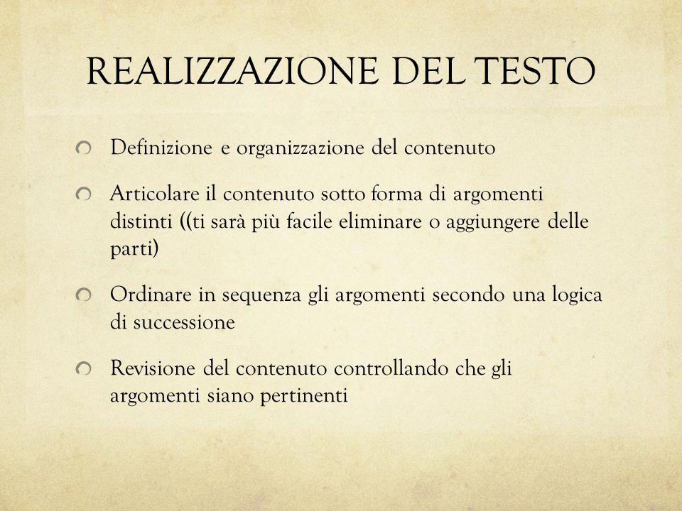 REALIZZAZIONE DEL TESTO