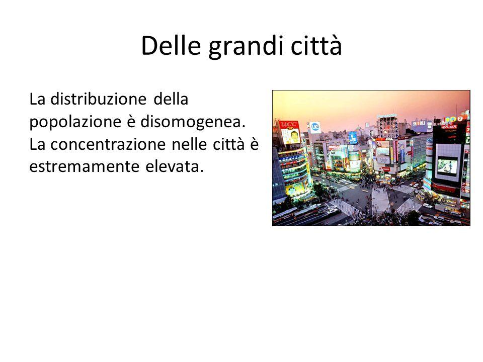 Delle grandi città La distribuzione della popolazione è disomogenea.
