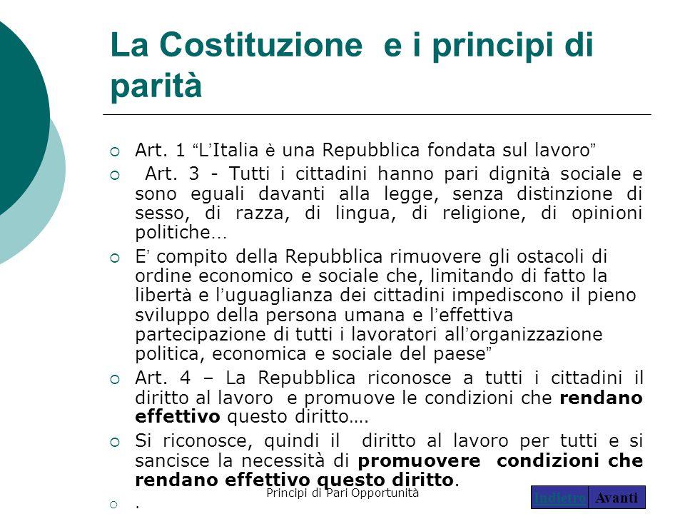 La Costituzione e i principi di parità