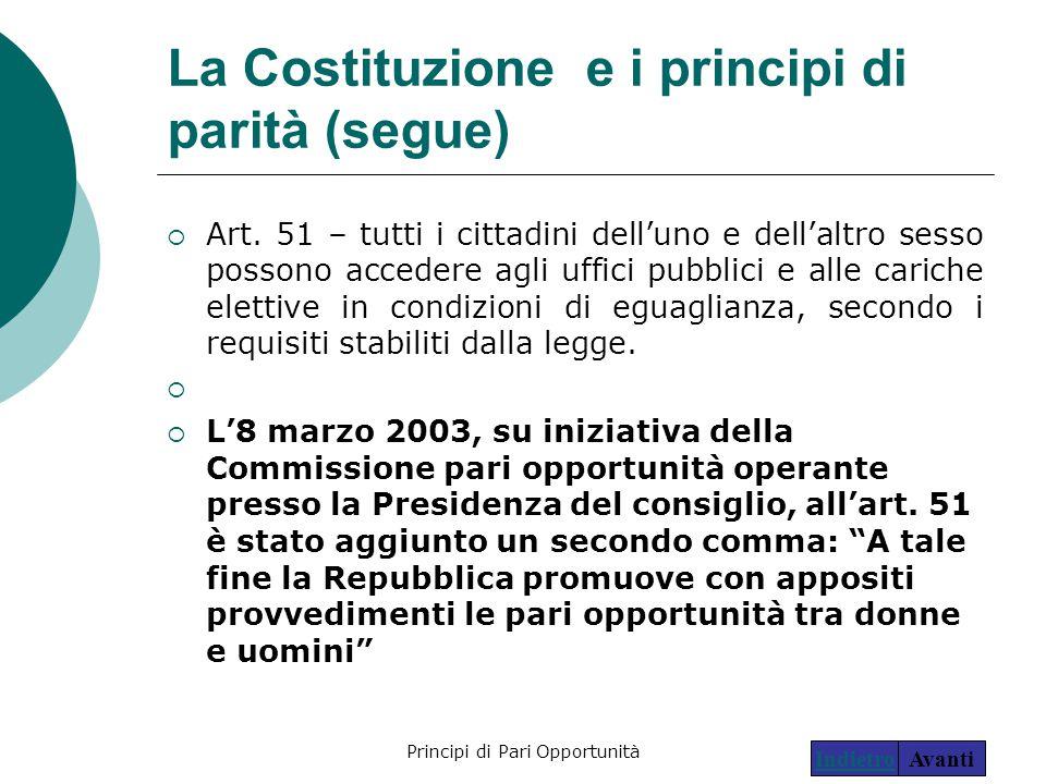 La Costituzione e i principi di parità (segue)