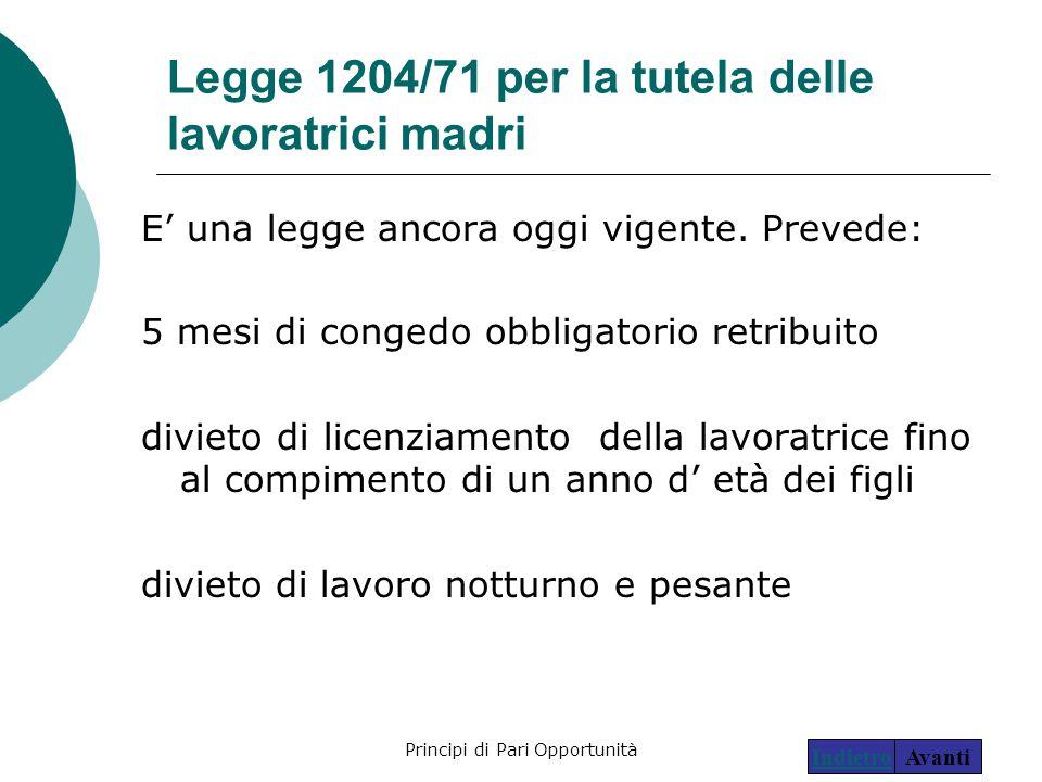 Legge 1204/71 per la tutela delle lavoratrici madri